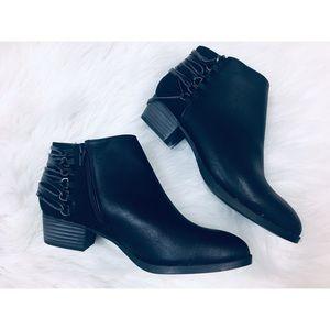 Cato black zip up wrap around tassel ankle boots